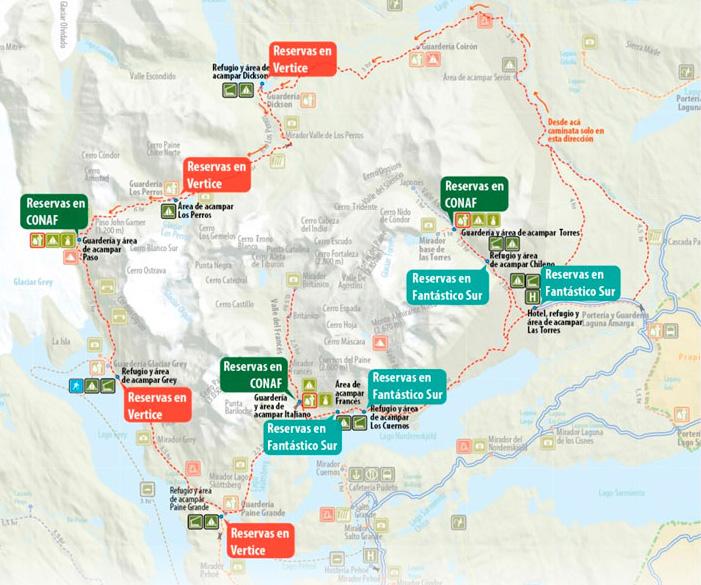 carte du parc Torres del Paine