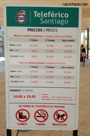 tarif télécabine Santiago