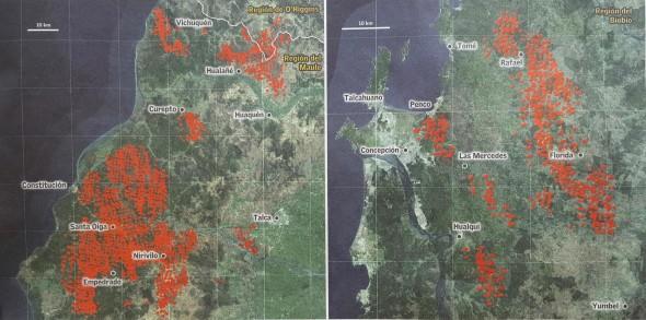 carte des incendies chili